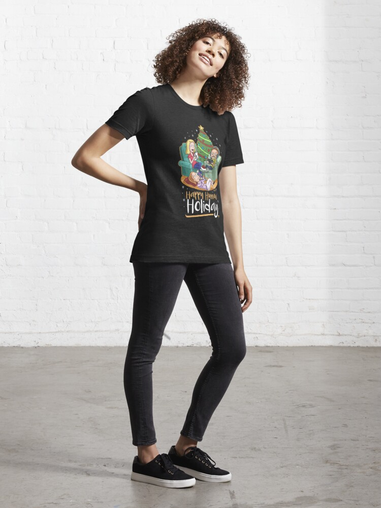 Alternate view of Christmas Happy Human Holiday Essential T-Shirt