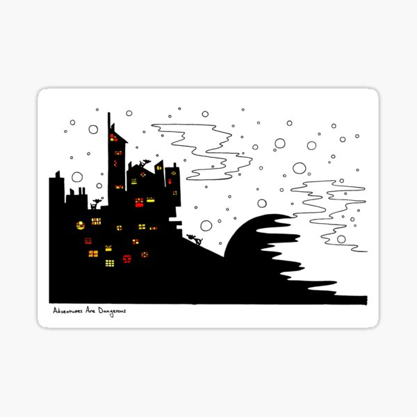 Snowy Cows in Snowy City at Sunset Sticker