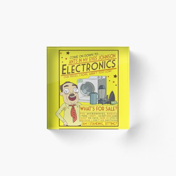 Funny Rick and Morty Ants In My Eyes Johnson Electronics Advertisement Acrylic Block