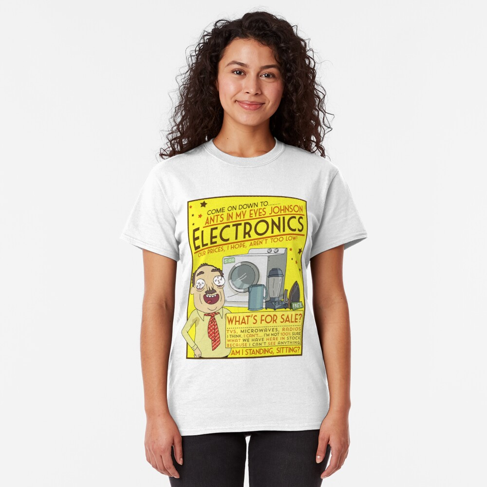 Funny Rick and Morty Ants In My Eyes Johnson Electronics Advertisement Classic T-Shirt