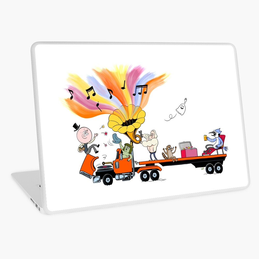 Truck Party with Mordecai and Rigby Laptop Skin