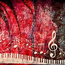 Klaviertastatur mit Musik merkt Grunge 2 von AnnArtshock