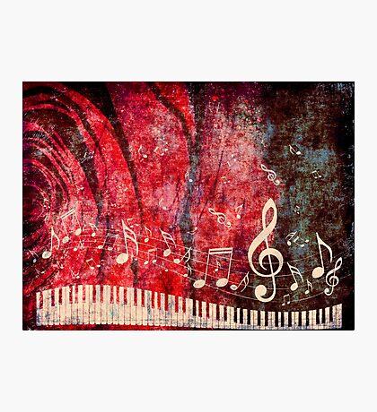 Klaviertastatur mit Musik merkt Grunge 2 Fotodruck