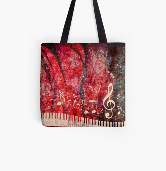 Piano Keyboard with Music Notes Grunge 2 All Over Print Tote Bag