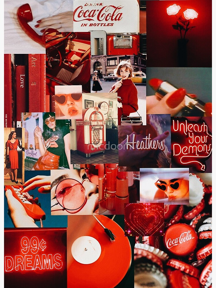 Vintage Red Aesthetic Collage Art Board Print By Micdoom Redbubble
