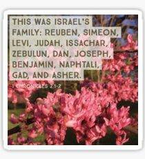 Israel's Family - Verse Image from 1 Chronicles 2:1-2 Sticker