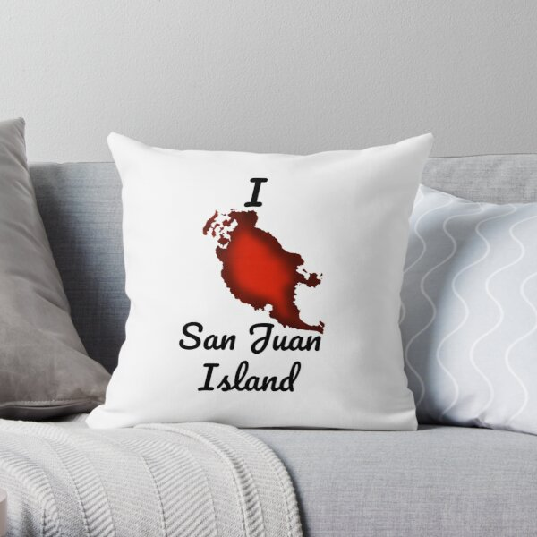 I Heart Orcas Island With Border Throw Pillow By Loonster Redbubble