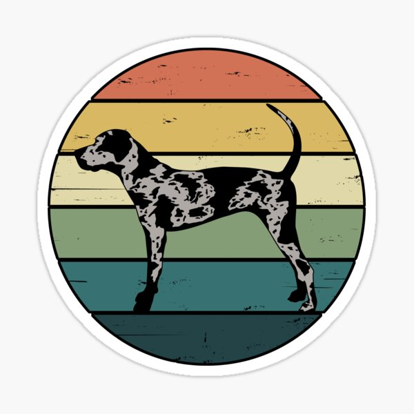 Retro Rainbow Catahoula Leopard Dog Sticker