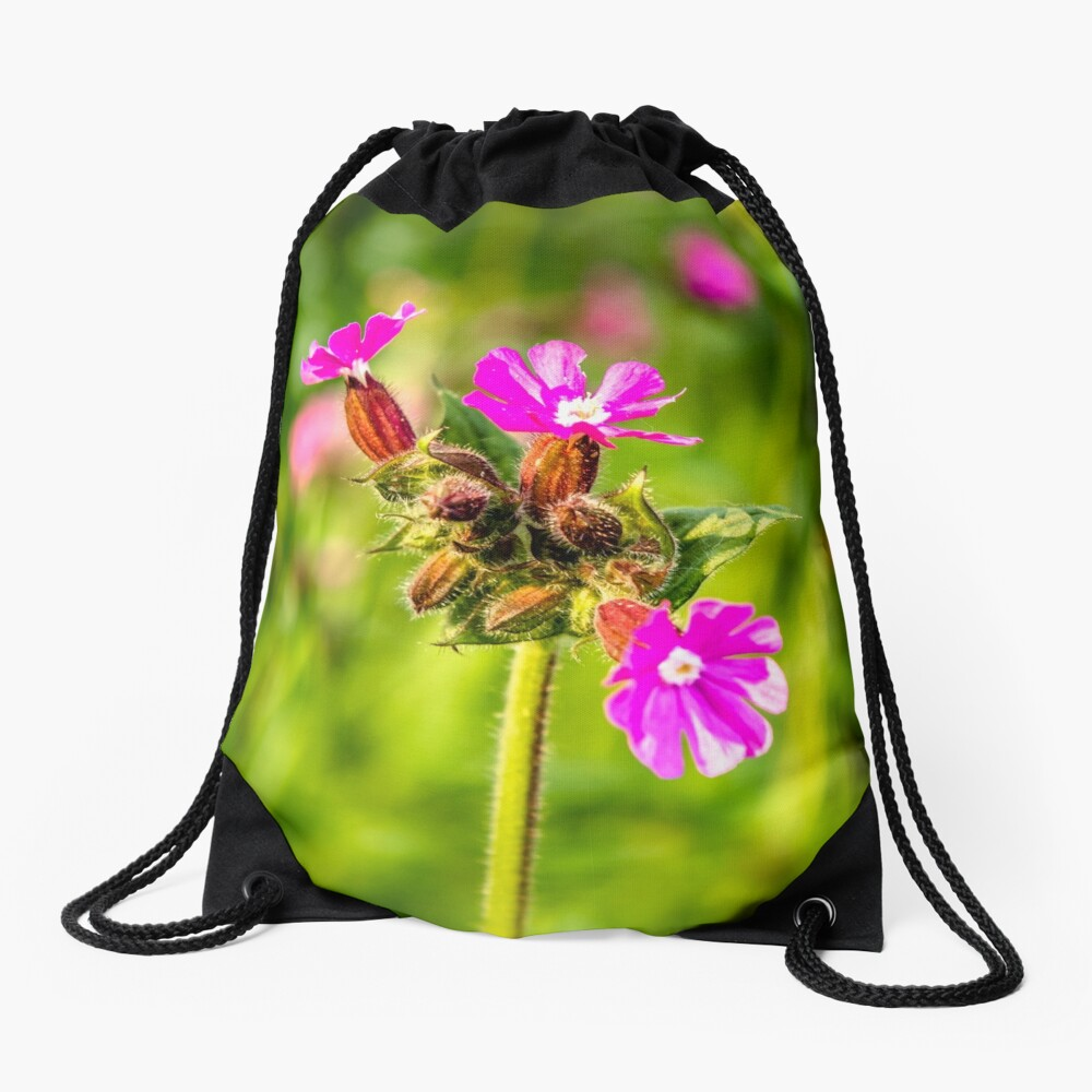 Beautiful Pink and Vibrant Ancient Woodland with Red Catchfly Drawstring Bag