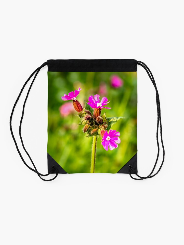 Alternate view of Beautiful Pink and Vibrant Ancient Woodland with Red Catchfly Drawstring Bag