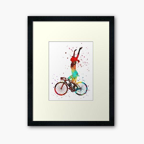 Road cycling, woman's road cycling, woman cyclist Framed Art Print