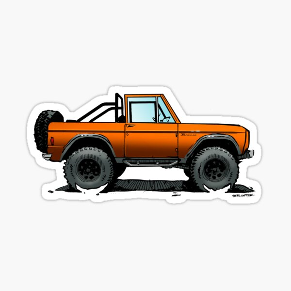 Bronco - Topless Orange Sticker