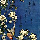 Bullfinch and Drooping Cherry by Katsushika Hokusai (Reproduction) by Roz Abellera Art Gallery