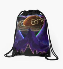 Summon the Future - Synthwave Blade Runner Future Drawstring Bag