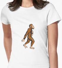 Neanderthal Man Walking Side Cartoon Women's Fitted T-Shirt
