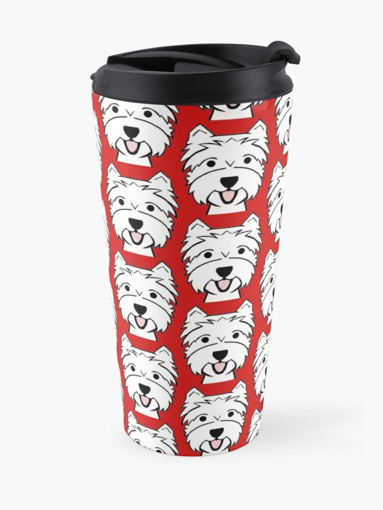 Alternate view of West Highland Terrier - Westies - Westie dogs - red background Westie dog breed Travel Mug