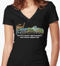 Postcard from On The Road! Women's Fitted V-Neck T-Shirt