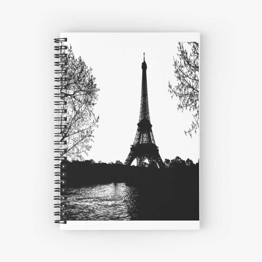 Eiffel Tower Paris Black And White Drawing Spiral Notebook By Chantal15 Redbubble