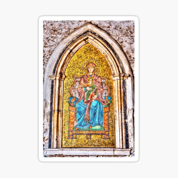 Golden Mosaic of Mary and Jesus on a Wall in Taromina, Sicily Sticker