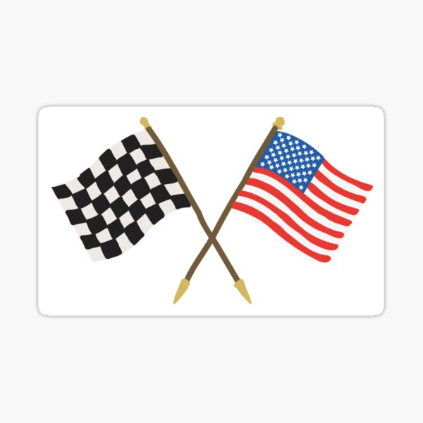 Race Flag and American Flag Sticker