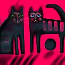 Black cats on red by Karin Zeller