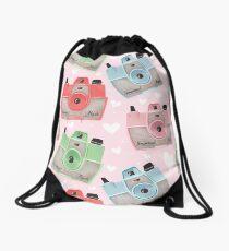 Vintage Camera Pattern - Pink Drawstring Bag