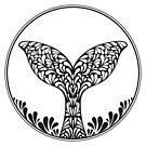 Walflosse. Verzierung künstlerische Darstellung von Viktoriia