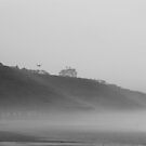 Whitby Coast in Mist (black and white) by shane22