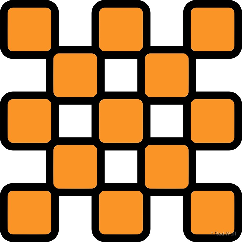 Geometric Pattern: Rounded Weave: Black/Orange by * Red Wolf