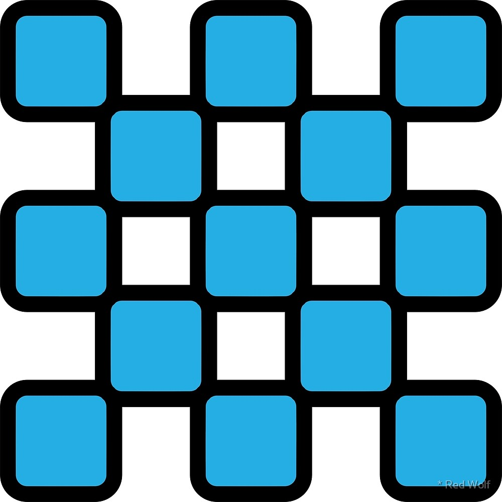 Geometric Pattern: Rounded Weave: Black/Blue by * Red Wolf