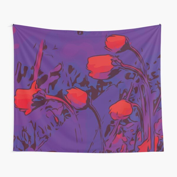 Daisies red / purple floral art Tapestry