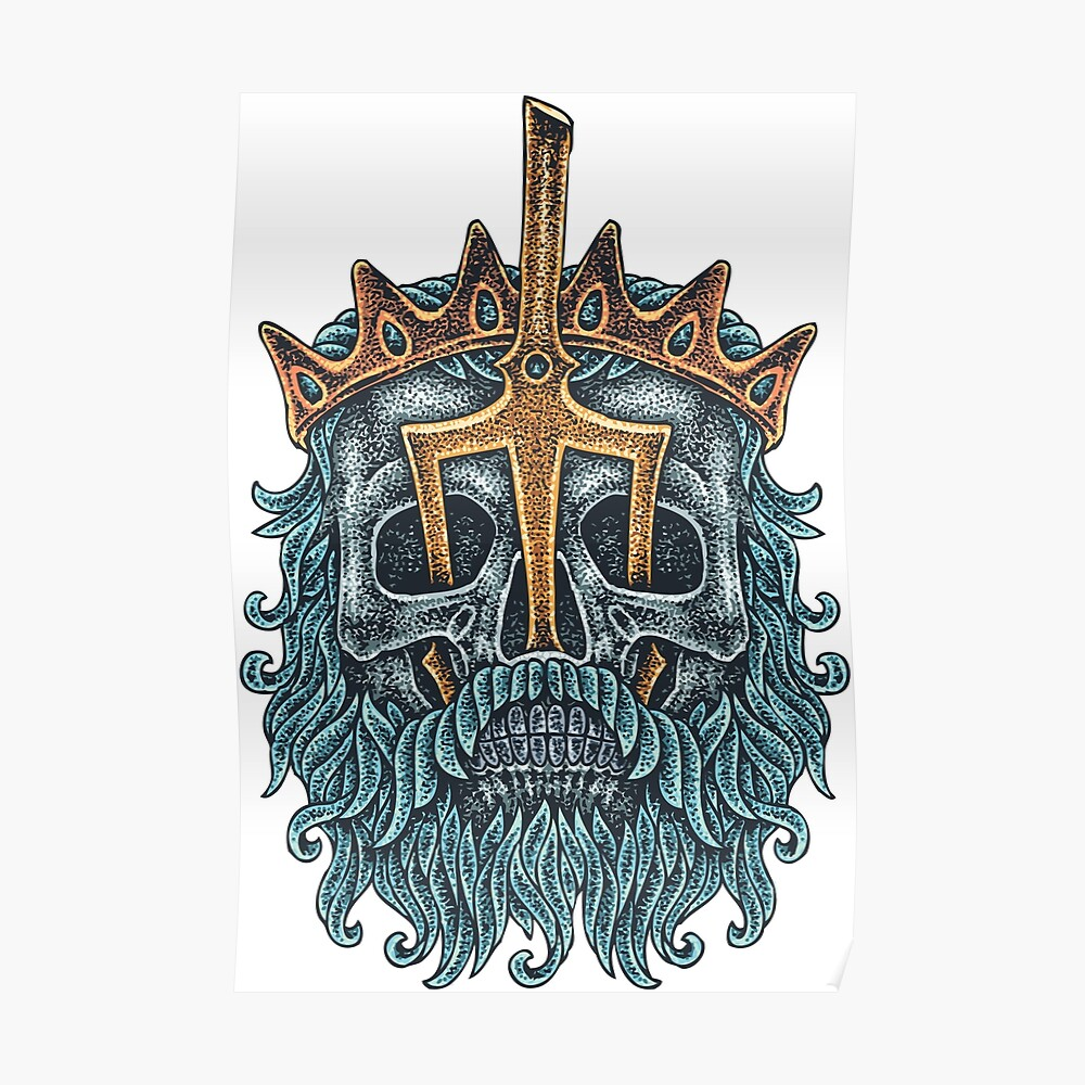 Poseidon Skull S Tattoos Of Old School Vintage Style Tattoos