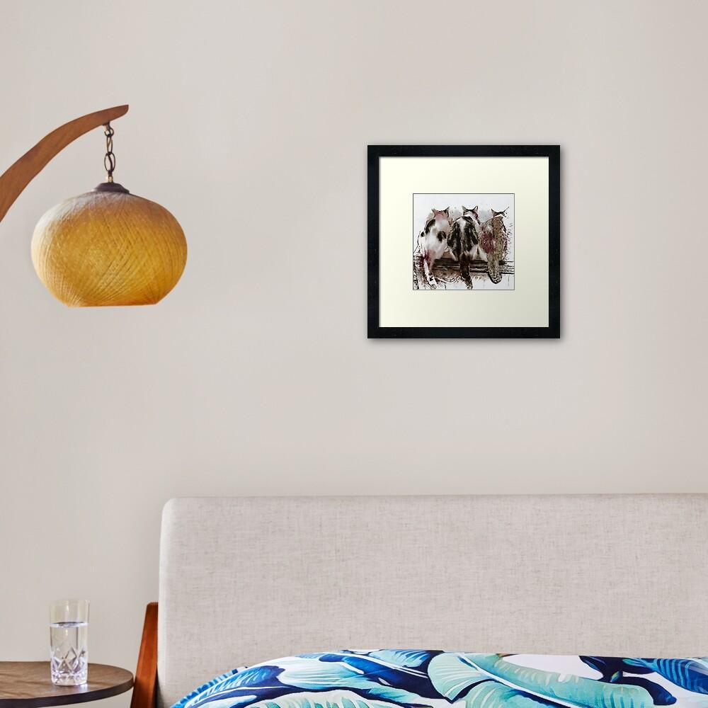 Feline Chow Time Framed Art Print