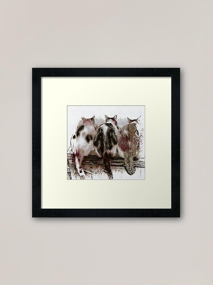 Alternate view of Feline Chow Time Framed Art Print
