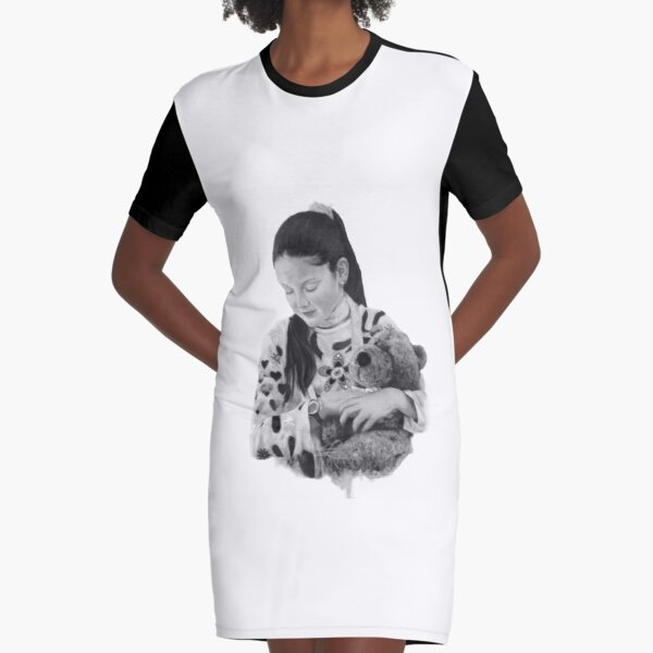 Bella - Drawing charcoal Graphic T-Shirt Dress