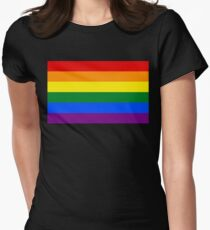 Rainbow flag Gay Homosexual Lesbian Womens Fitted T-Shirt