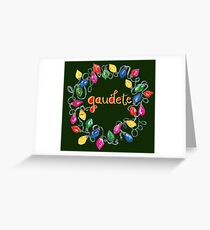 Gaudete - Rejoice - Latin Christmas carol holiday lights design Greeting Card