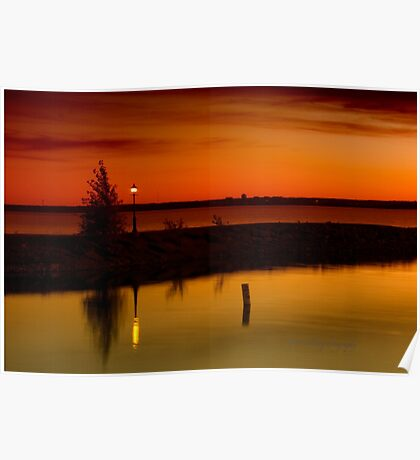 The Tree and the Lamp Post at Sunset - Aylmer Marina Poster
