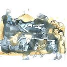 « Aquarelle bleu et jaune de Naple n°7 » par Vincent Debats