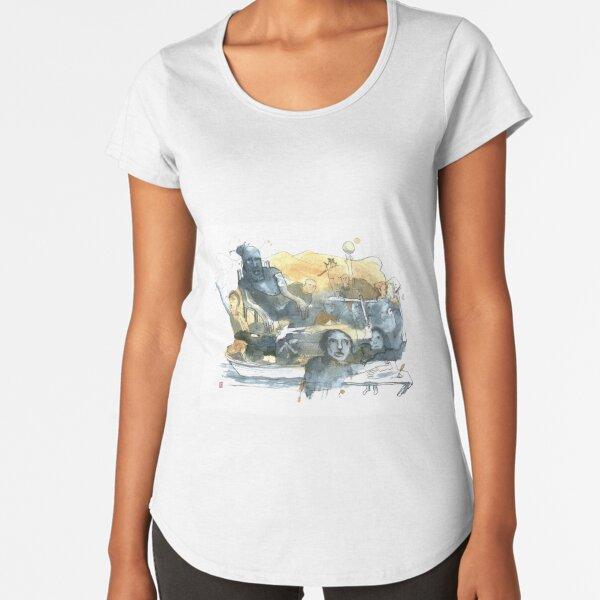 Aquarelle bleu et jaune de Naple n°9 T-shirt premium échancré