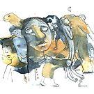 « Copie de Aquarelle bleu et jaune de Naple n°10 » par Vincent Debats