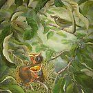 Lewin's honeyeater and nestlings (Meliphaga lewinii) by TallabeenaArt