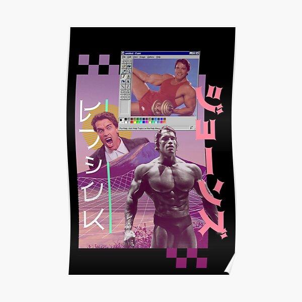 Arnold Schwarzenegger 80s Vaporware Meme Aesthetic Retro  Poster