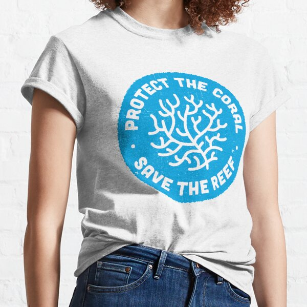 Protect the Coral, Save the Reef. Blue Icon. Classic T-Shirt