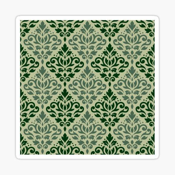 Scroll Damask Pattern Greens Sticker