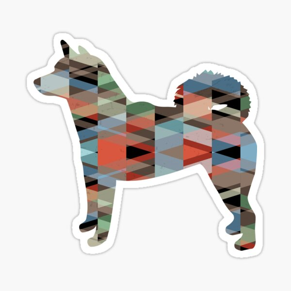 Shiba Inu Dog Side View Silhouette Geometric Plaid Sticker