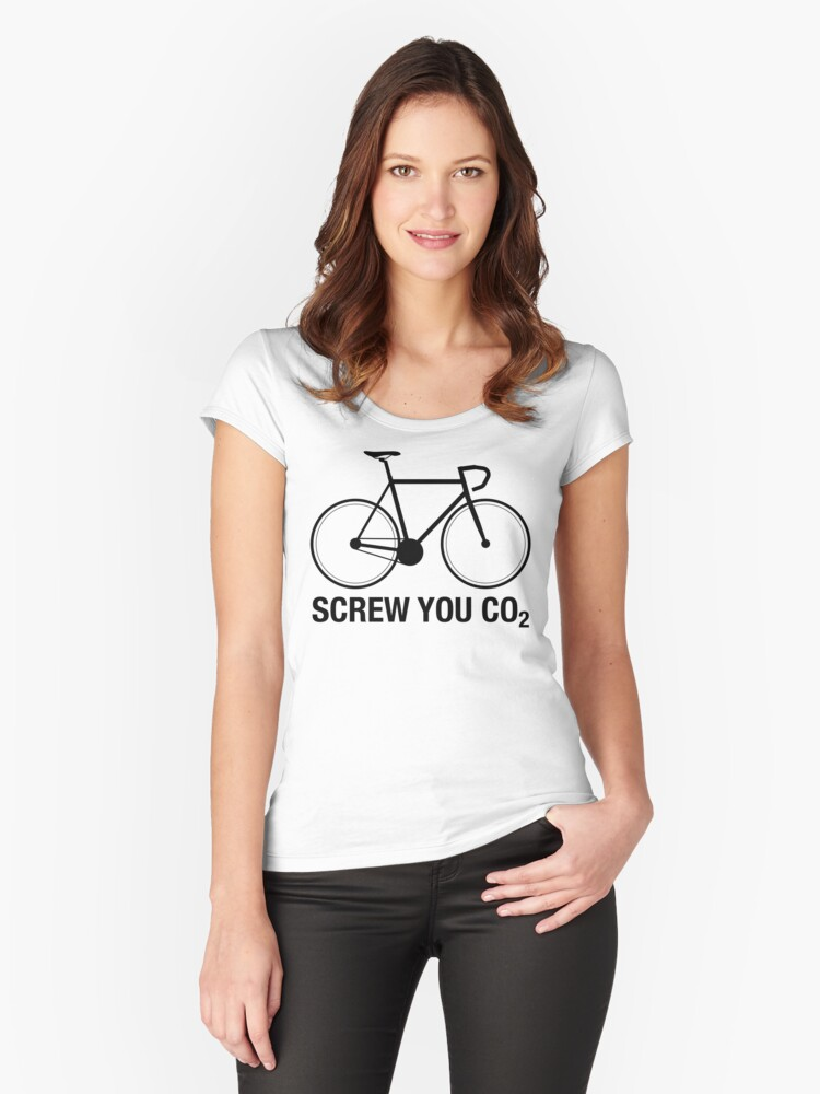 SCREW YOU CO2 | Black Ink Women's Fitted Scoop T-Shirt Front