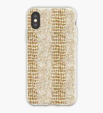 Gold Glitter Alligator Print iPhone Case