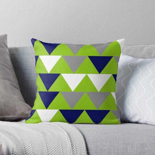 Arrows: Lime Green,  Bright Navy Blue, Grey, and White Throw Pillow