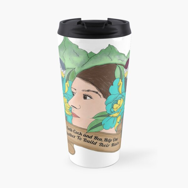 Birds, Both Cock And Hen, help one another to build their nests. Travel Mug